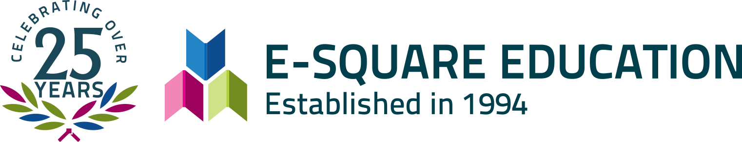 E-square Education & OVER 25 Year Logo